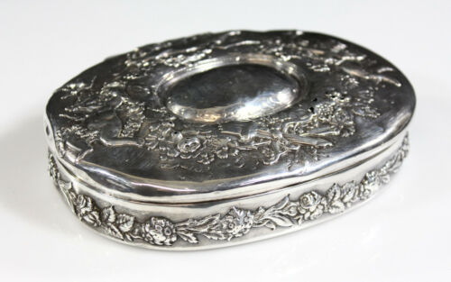 Tiffany & Co. Sterling Silver Box Repousse Decorated w/ Cupids & Floral Garlands