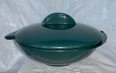 Boonton Ware Winged Serving Dish Bowl w/Lid Melamine Melmac Forest Green