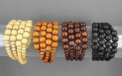 4 Strand Stretch Bracelet (Wood wooden bead 4 strand beaded stretch)