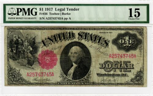 1917 $1 SAWHORSES Fr 36 Legal Tender PMG CF-15 Large Size US Note Currency 4002