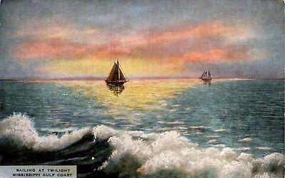 Sailing at Twilight, Mississippi Gulf Coast Sailboats Linen Postcard F22