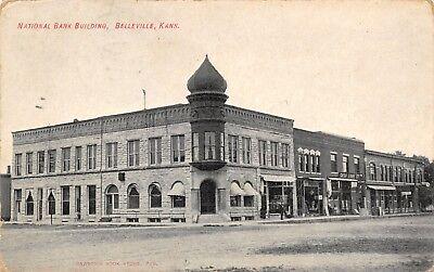 Belleville Kansas~National Bank Corner~Cash Store Stuff on Sidewalk~Hotel~1909  ()