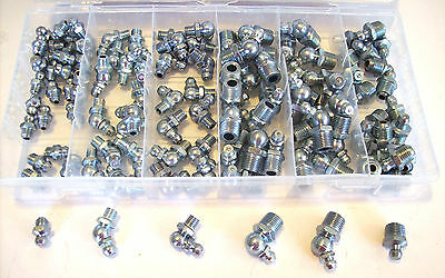 110pc Sae Hydraulic Grease Fittings Assortment Gun Tractor Standard