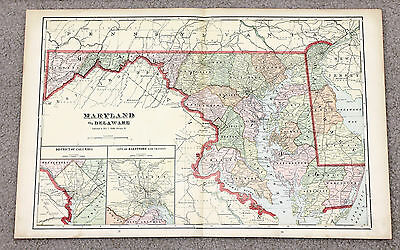 1906 Maryland Delaware Map Railroads Counties Townships Large Double Page  ()