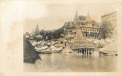 1928 Real Photo Postcard; Waterfront, Benares, India Unposted