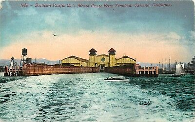 DB Postcard AH CA C466 Southern Pacific Broad Gauge Ferry ca1915 Oakland Boats