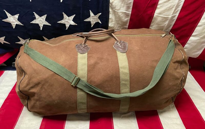 Vintage 1960s Brown/OD Green Canvas Duffel Bag Large Capacity Leather Bottom