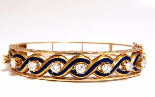 Victorian Ridged Interwoven Braided Handmade Diamond Bangle Bracelet 14kt+