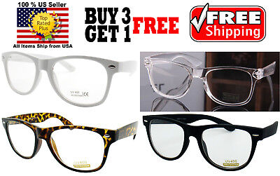 CLASSIC 80s VINTAGE RETRO CLEAR LENS GLASSES SHADES BUY 3 GET 1 (Buy Clear Glasses)