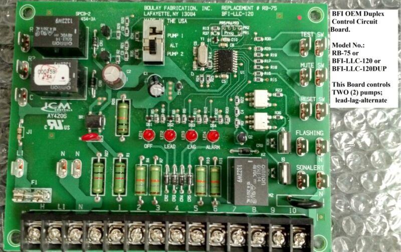 Duplex Pump Logic Control Board, Goulds# RB-75,Boulay Fab# BFI-LLC-120 (DUPLEX)