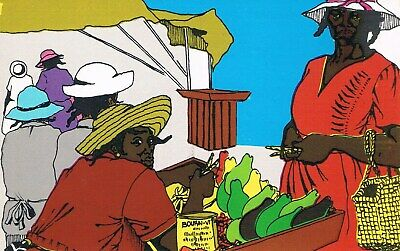 Postcard Insel Barbados Island Karibik Caribbean Markt Händler market hawkers WI