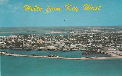 (K)  Key West, FL - Hello From - Bird's Eye View of Key West from Water