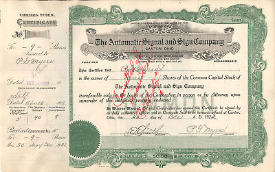 Automatic Signal Sign   P  G  Myers   1922 Canton Ohio Old Stock Certificate