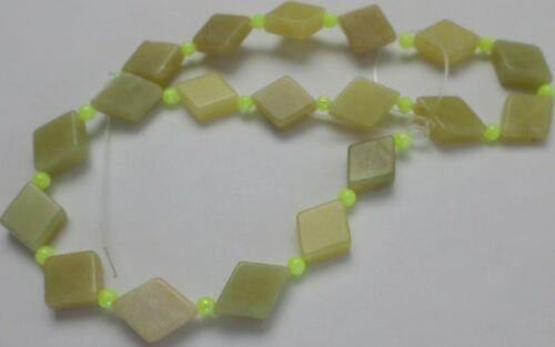 "3 -14"" Strand 57 Green Serpentine Gemstone Diamond Kite Shape Beads 17x13mm"