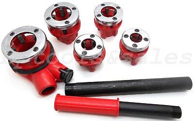 5pc Pipe Threader Tool Kit W 18 Steel Ratchet Handle Ratcheting Dies Plumbing