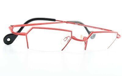 THEO BELGIUM Brille Backstroke 36 Half Rim Designer Eye Frame Square Red Medium