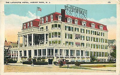 Asbury Park  New Jersey   Lafayette Hotel Old Auto   1925 Vintage Postcard View