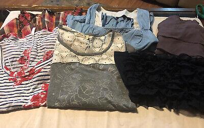 lot of 6 womens shirts size medium - hollister + american eagle