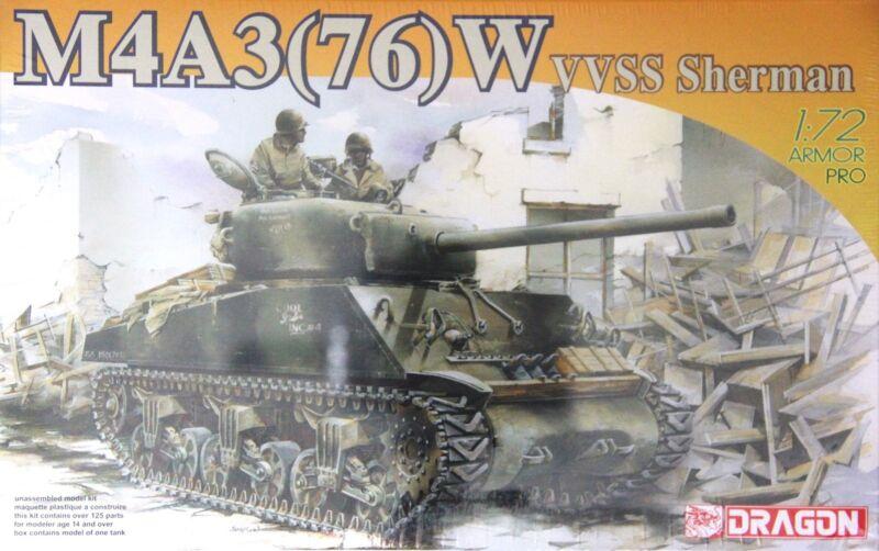 Dragon 7571-1//72 WWII Sherman M4A1 Neu W VVSS 76