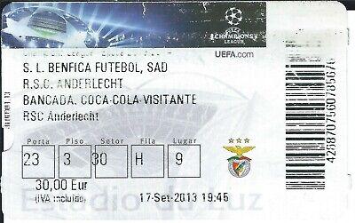 Ticket: Benfica Lisbonne Lisboa - Anderlecht UEFA Champions League (17-9-13)