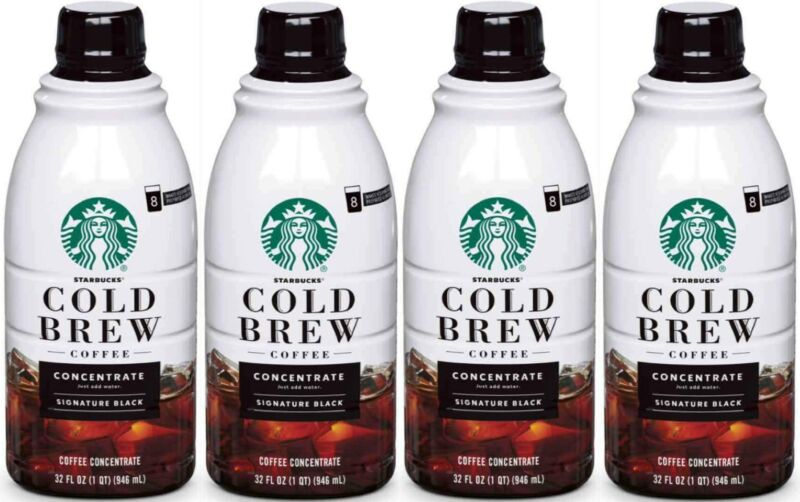 Starbucks Coffee Cold Brew Concentrate 4 Bottles of 32 fl oz 128 oz Total READ !