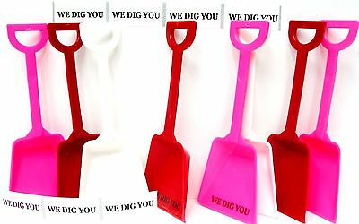 """24 """"We Dig You"""" Stickers & 8 each Red White Pink Toy Shovels Mfg USA"""