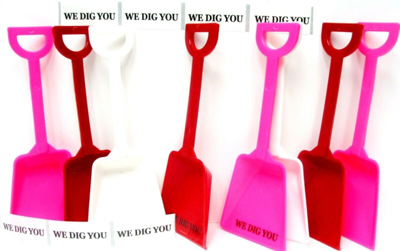 """48 """"We Dig You"""" Stickers & 16 ea Red White Pink Toy Shovels Mfg USA*"""