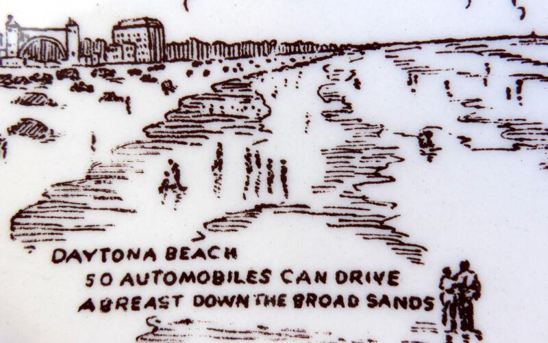Scarce FLORIDA Sepia Brown Sports-Themed Vernon Kilns Plate 1940s*Daytona Beach