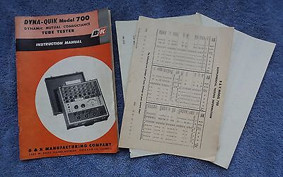 Bk Dyna-quik 700 Dynamic Mutual Conductance Tube Tester Instruction Manual