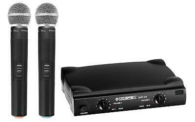 2x Wireless Microphone Vocal Mic DJ PA Live System Twin Hand Held Receiver Set (Dj Wireless Microphone)