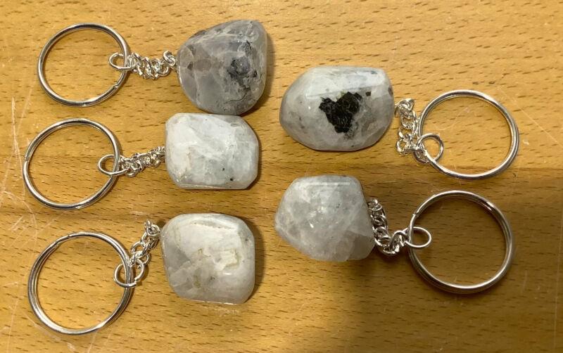 Bulk Wholesale Lot Of 5 Pieces - Rainbow Moonstone Crystal Keychain