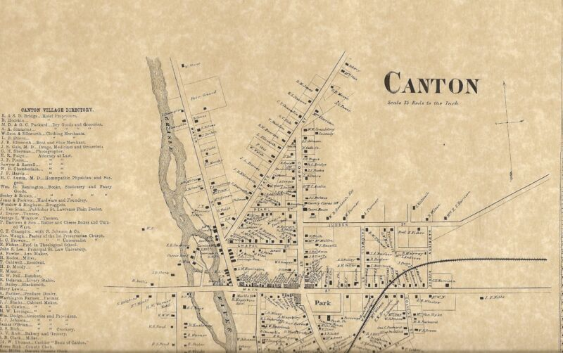 Canton NY 1865  Map with Businesses and Homeowners Names Shown