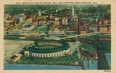 CLEVELAND OH – Stadium, Mall and Downtown Area Birdseye View - (Cleveland Mall)