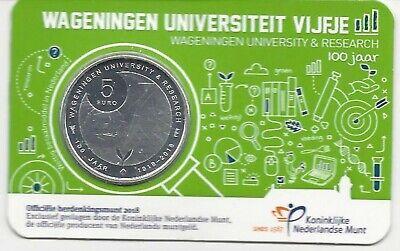 Nederland-pays-bas Coincard 5 euro 2018***Wageningen Universiteit vijfje***