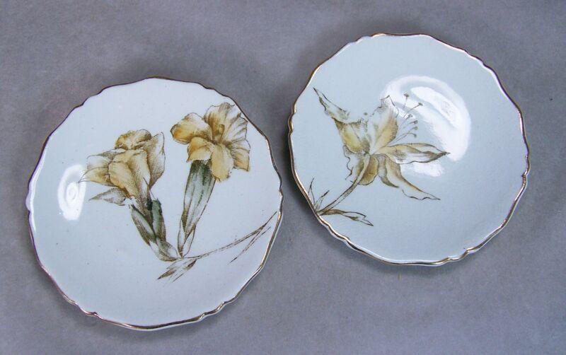 "Antique 3"" Porcelain Butter Pat Lot 2 Yellow Iris Flowers Scalloped Gold Trim"