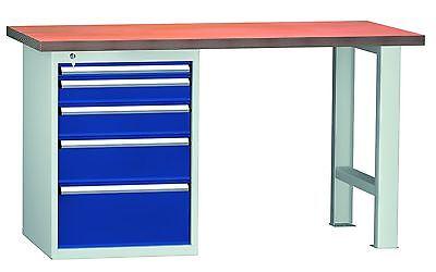 werkbank werktisch 5 schubladen lxtxh 1500x700x840mm ral 7035 5010. Black Bedroom Furniture Sets. Home Design Ideas