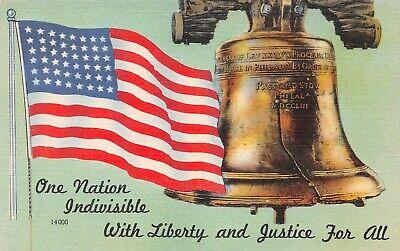 C6662 Liberty Bell & 48-Star American Flag Linen Postcard Colourpicture # 14000