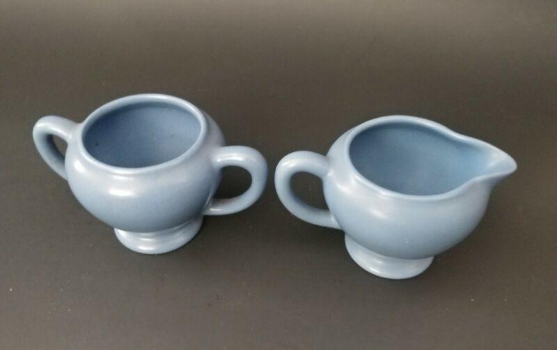 Rare Catalina Island Creamer and Sugar Catalina Blue Matte Glaze Clay Pottery