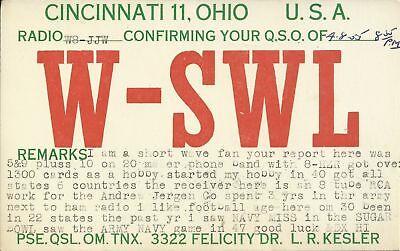 OLD VINTAGE W-SWL CINCINNATI OHIO USA AMATEUR RADIO QSL CARD