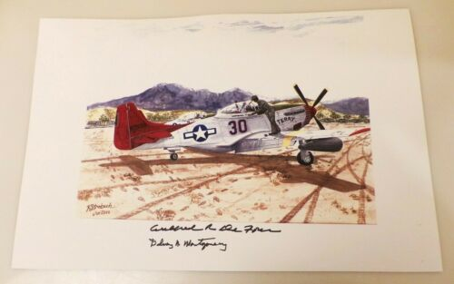 """RARE TUSKEGEE AIRMEN HAND SIGNED 18"""" X 12"""" COLOR PRINT DEFOUR & MONTGOMERY"""