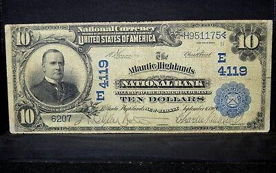 1902 Db  10 National Bank Note   Atlantic Highlands Ntl Bank   Nj 4119  Trusted