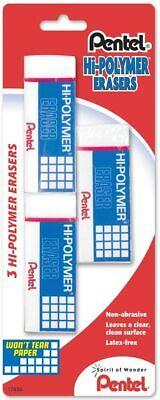 Pentel Hi-polymer Eraser Rectangular Medium White Latex-free Hi-polymer 3-count