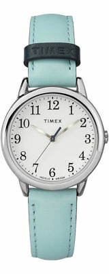 Timex TW2R62900, Women's Easy Reader, Blue Leather Watch, White Dial, Indiglo