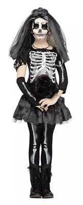 Corpse Bride Costume Child (Skeleton Costume Undead Corpse Bride Fancy dress Girls Kids Halloween Outfit)