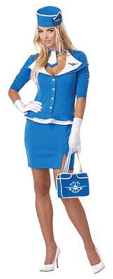 RETRO STEWARDESS FLIGHT ATTENDANT VINTAGE 60's ADULT HALLOWEEN COSTUME MEDIUM - Retro Stewardess Halloween Costume