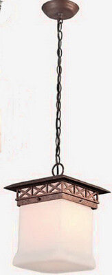 Walnut And Antique White Glass Fluorescent Exterior Hanging Light ()