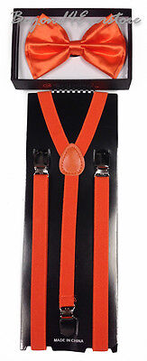 Skinny Suspender and Bow Tie Adults Men Neon Orange Formal Wear - Neon Suspenders And Bow Tie