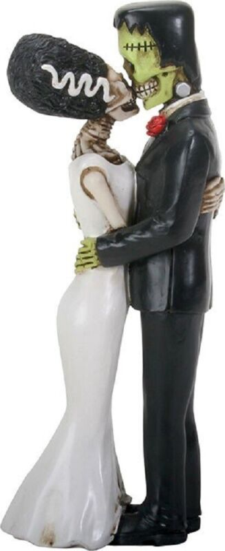 Frankenstein and Bride Kissing Figurine Day of the Dead Halloween Decoration New