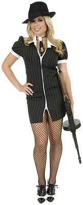 Gangster Moll 20's Mob Girl Pinstripe Dress Up Halloween Adult Costume 2 COLORS