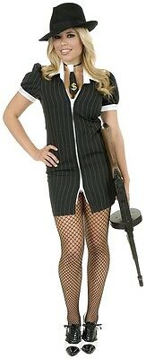 Gangster Moll 20's Mob Girl Pinstripe Dress Up Halloween Adult Costume 2 - Gangster Moll Costumes